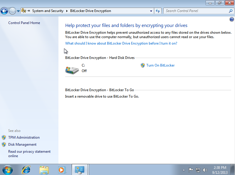 Enable BitLocker for Windows